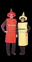 'Ketchup - Adult' and 'Mustard - Adult' costumes